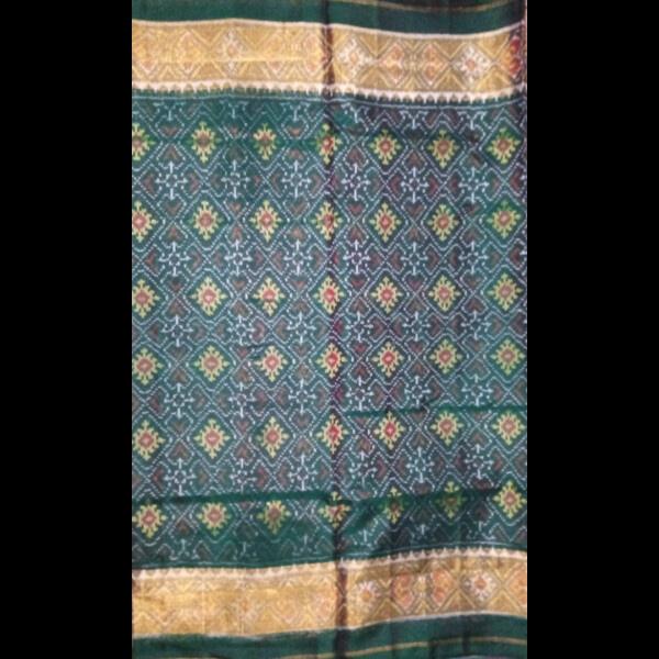 Handmade Green Patan handwoven patola silk Saree