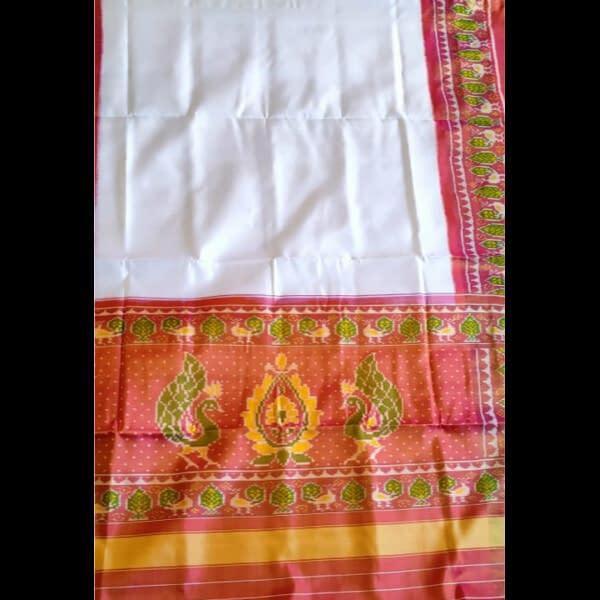 Handmade Traditional White Patola Gala Saree