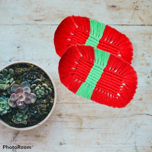 Handmade Dual colour macrame coasters