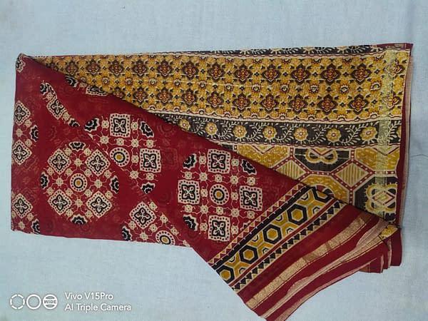 Handmade Chanderi Ajrak Printed Saree