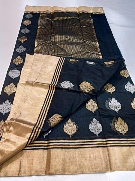 Handmade Chanderi Masrais Silk Saree