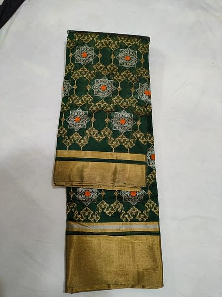Handmade Chanderi Pure Katan Silk Jakat Border Saree Bottle Green