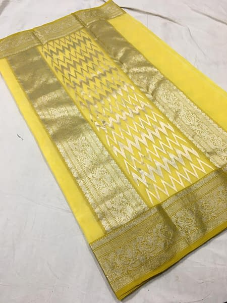 Handmade Chanderi Katan Silk with Ghani buti