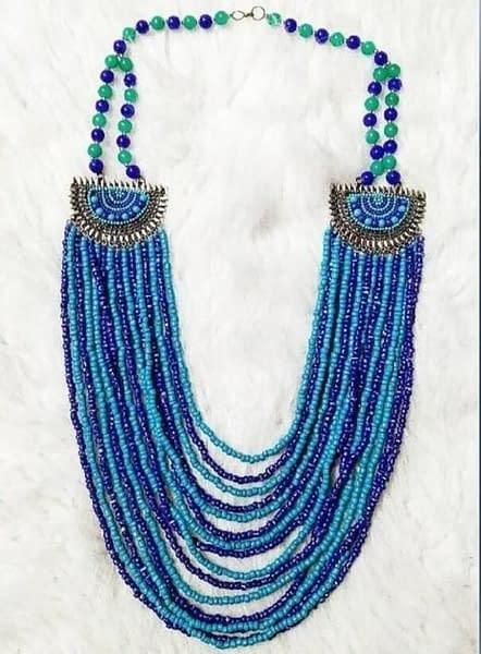 Handmade Blue Beaded Necklace 3
