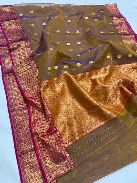 Handmade Chanderi Pure Katan Silk Naksi Border Saree
