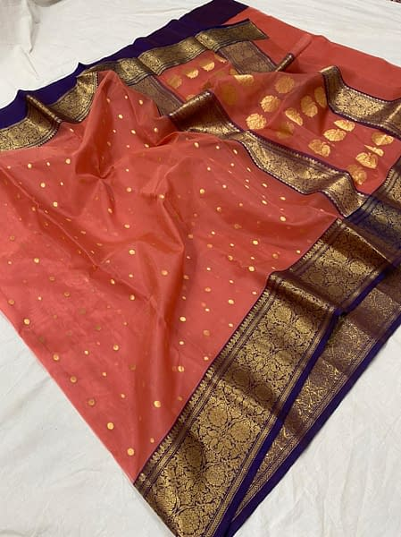 Handmade Chanderi Pure Katan Silk Nancy Border Saree