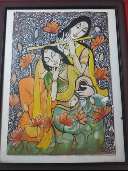 Handmade Radha Krishna painting 3