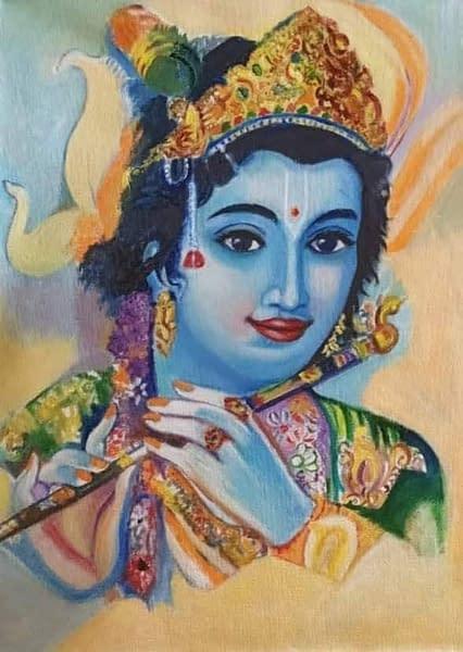 Handmade Murli Krishna painting 3