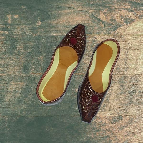Handmade Leather Mojari Dark Tan 3