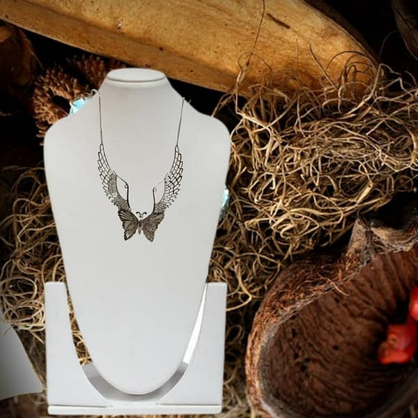 Handmade Angel's Wings Necklace with Butterfly Pendant
