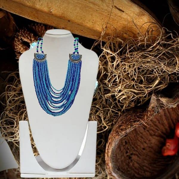 Handmade Blue Beaded Necklace