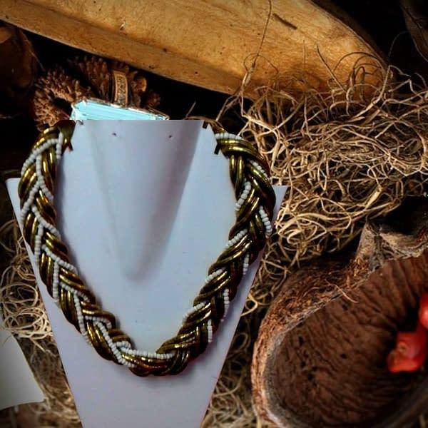 Handmade Golden and White Beads Chain