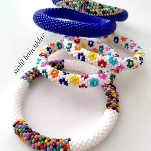 Handmade Seed-bead bangles pair