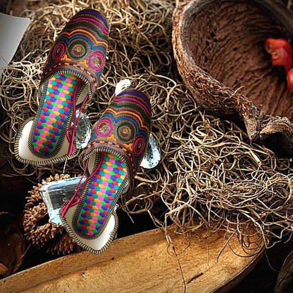Handmade Multicolored mojari with anckle support