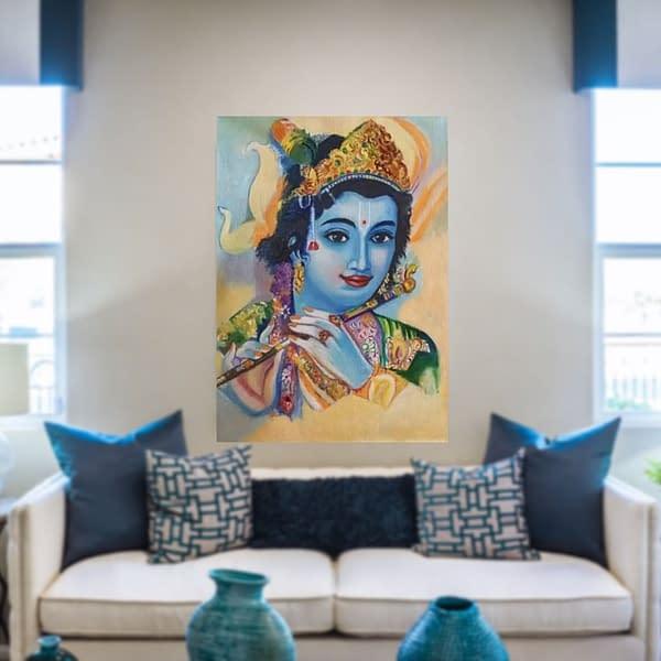 Handmade Murli Krishna painting