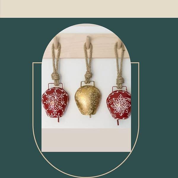 Handmade Golden & Red Bells (Set of 3)