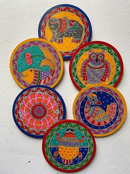 Handmade Madhubani coasters