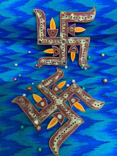 Handmade Swastik with diyas 3
