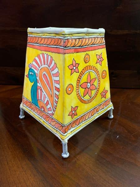 Handmade Tholu Bommalata Lamp – peacock desigh