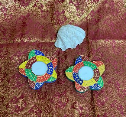 Handmade Floral T light platters