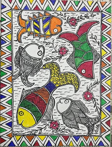 Handmade Madhubani fish family