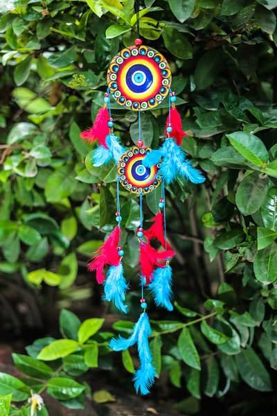 Handmade Evil Eye Red & Blue Dream Catcher