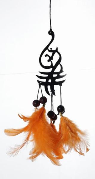 Handmade Aum Symbol Orange Feather Dream catcher 3