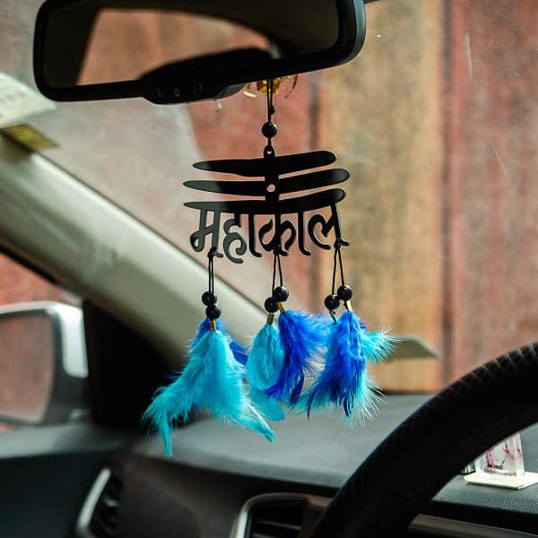 Handmade Mahakal Dream cather with Blue Feather 3