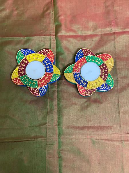 Handmade Floral T light platters 3