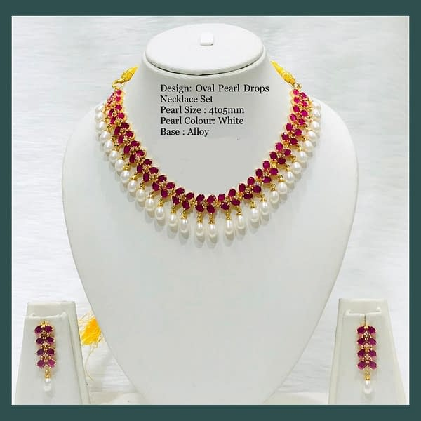 Handmade Oval Pearl Drops Necklace 3