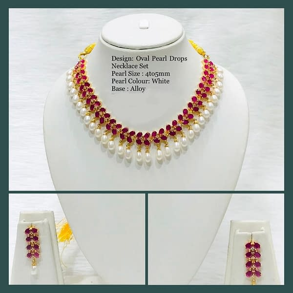 Handmade Oval Pearl Drops Necklace