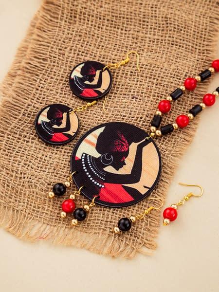 Handmade Shaman Wood & Pearl Necklace set