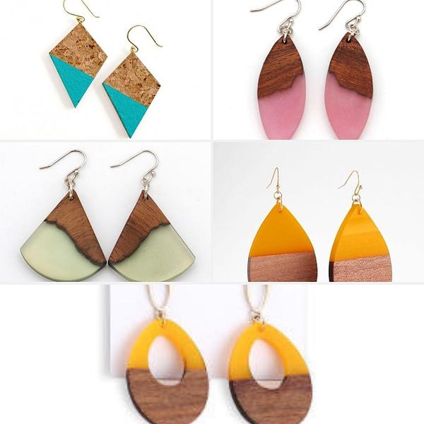 Handmade Wood Resin Earrings (5 pairs)