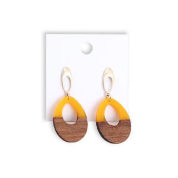 Handmade Wood Resin Earrings (5 pairs) 3
