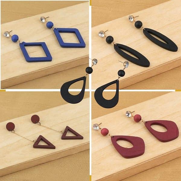 Handmade Wooden earrings (5 Pairs)