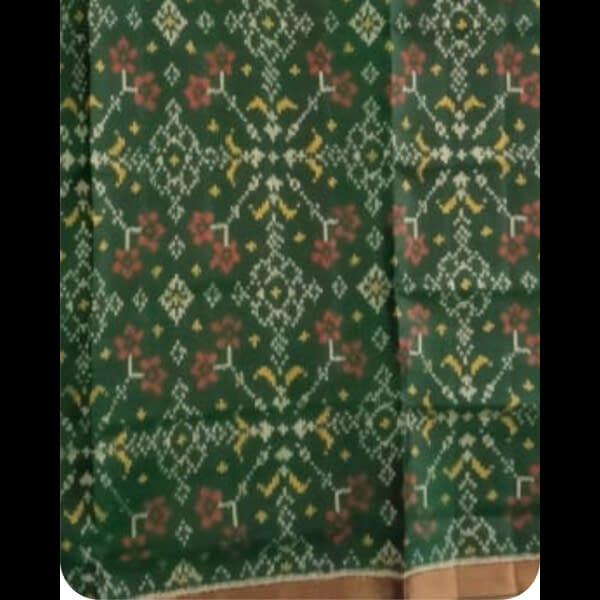 Handmade Green Patan handwoven patola silk dupatta