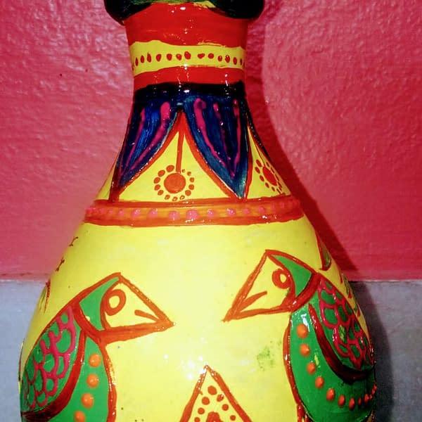 Handmade Handpainted Terracotta flower vase