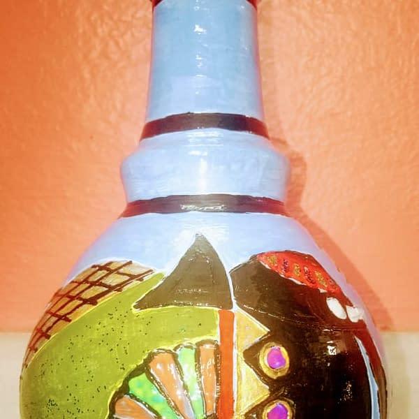 Handmade Handpainted Terracotta flower vase blue