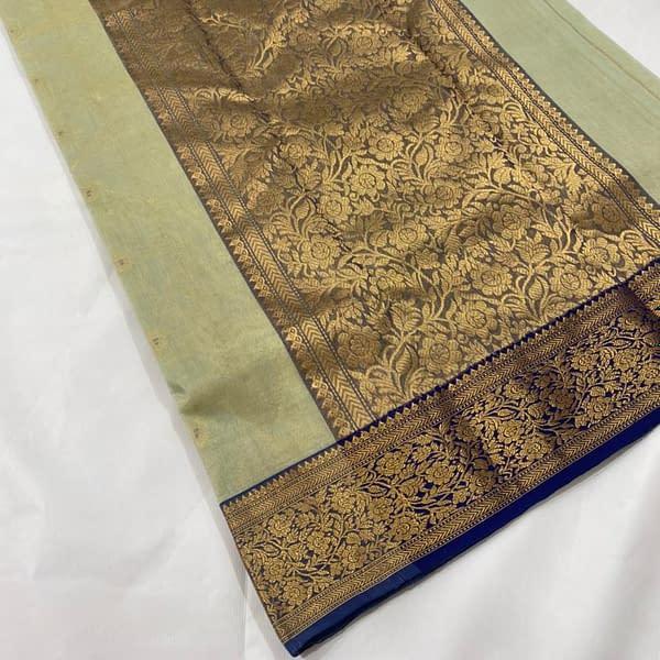 Handmade Kanjivaram Silk Saree Green Color