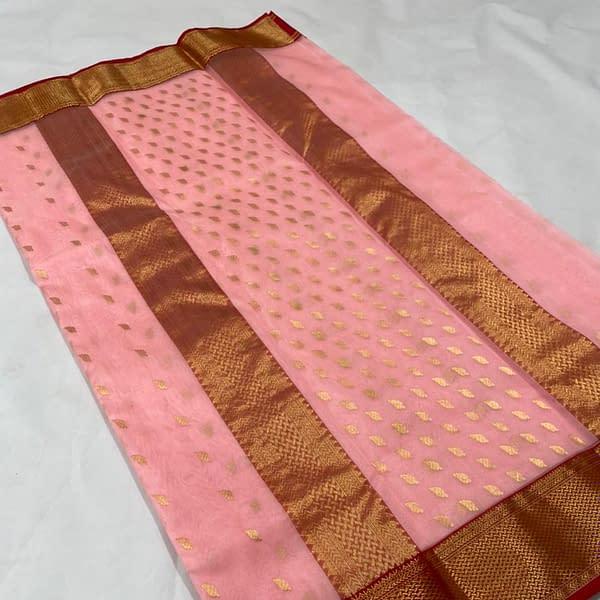 Handmade Kanjivaram Silk Saree Peach Color
